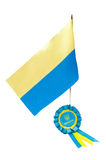 Ukraine flag and seal with blue, yellow ribbon Stock Image