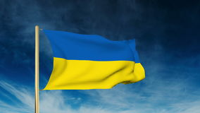 Ukraine flag slider style. Waving in the wind with. Background  cloud animation stock video