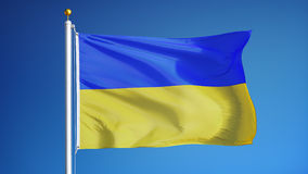 Ukraine flag in slow motion seamlessly looped with alpha stock footage