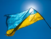 Ukraine flag waving on the wind Stock Photography