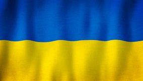 Ukraine flag waving in the wind. Closeup of realistic Ukrainian flag with highly detailed fabric texture