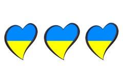 Ukraine-Flagge innerhalb des Herzens Eurovisions-Lied-Wettbewerb 2017 in Ukrai Stockbilder