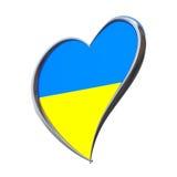 Ukraine-Flagge innerhalb des Herzens Eurovisions-Lied-Wettbewerb 2017 in Ukrai Lizenzfreie Stockfotos