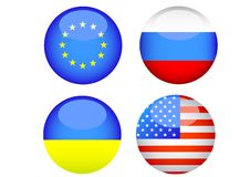 Ukraine flags. Silhouettes of button with flags of Ukraine and Russia Royalty Free Stock Photos