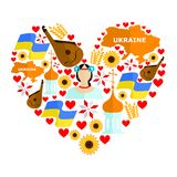 Ukraine flat design. Set in the style of a flat design on the theme of ukraine Stock Images