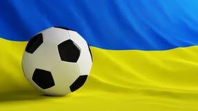 Ukraine football. Soccer ball on a flag Ukraine Stock Photo