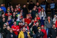 Ukraine gegen Wales Stockbild