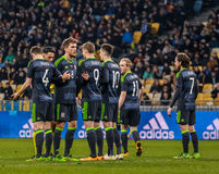 Ukraine gegen Wales Stockfotografie