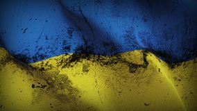 Ukraine grunge dirty flag waving on wind. Ukrainian background fullscreen grease flag blowing on wind. Realistic filth fabric texture on windy day Royalty Free Stock Image