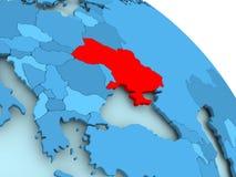 Ukraine on blue globe. Ukraine highlighted on blue 3D model of political globe. 3D illustration Stock Photography