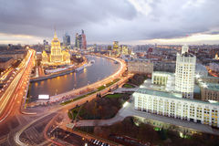 Ukraine Hotel, Moskva River and Russian government building Royalty Free Stock Images