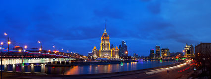 Ukraine hotel (Radisson Royal Hotel) in night illumination. Royalty Free Stock Photography