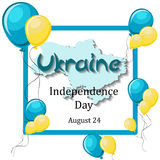 Ukraine Independence Day, August 24 greeting card template. With balloons, frame, map and text on white background. Cartoon vector illustration in flat style Stock Photos
