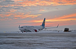 Ukraine Internaional Airlines airplane, sunset, Royalty Free Stock Photography