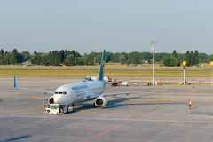 Ukraine International Airlines airplane in an airport Royalty Free Stock Images