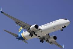 Ukraine International Airlines Boeing 737-94X(ER). Landing at Kharkiv International Airport Stock Images