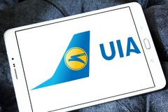 Ukraine International Airlines logo Arkivfoton