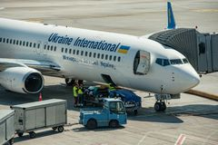 Ukraine International Airlines UIA Photographie stock