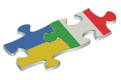Ukraine and Italy puzzles. On white background Stock Photo