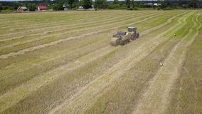 Ukraine, Kalinovka, September 4, 2017, Green tractor with Hay baler producing hay bales in a field - Aerial footage. Summer, the sun is shining stock footage