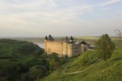 Ukraine. Kamenets-Podolsky. Hotin fortress. On the bank of Dnestr river in spring stock photo