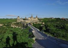 Ukraine, Kamyanets-Podilsky fortress in the rain on May 2, 2015 royalty free stock photography