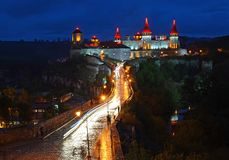 Ukraine, Kamyanets-Podilsky fortress at sunset on May 2, 2015 royalty free stock photography