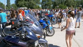 Motorbikes Ride on Festival. Many motorcycles ride on the bike festival. Ukraine, Kanev, June 2, 2018: Motorbikes Ride on Festival. Many motorcycles ride on the stock video footage