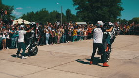 Stunt Moto Show. Extreme Motorsports. Bikers Parade And Show stock video footage