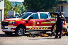 Ukraine, Kanev - September 11, 2021: Operational rescue vehicle based on a Ford car