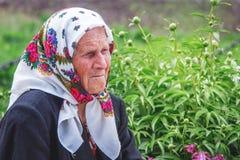 Ukraine. Khmelnitsky region. May 2018. Portrait of an elderly wo stock image