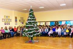 ukraine Khmelnytskyi December 2017 Barn på `en s för nytt år royaltyfri fotografi