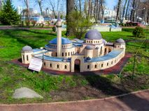 A miniature copy of the Ar-Rahma Mosque in the park `Kiev in Miniature` royalty free stock images