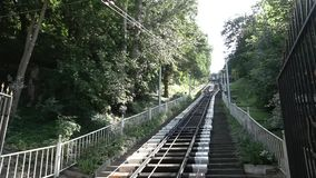 Ukraine, Kiev August 25, 2018. City public rail ecology history transport Kiev funicular in the summer. The Legacy of. The USSR stock video