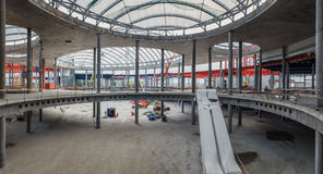 UKRAINE, KIEV. Building construction, escalator packed. Progress in the construction of shopping mall Republic Stock Images