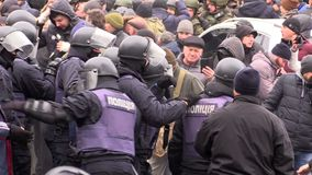 Clashes with the police. Ukraine. Kiev. December 5, 2017. people rebel against power. Collisions of people with the police. Protest against the detention of
