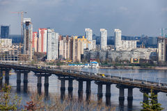 Ukraine, Kiev. Dnieper River and the bridge Paton Royalty Free Stock Image