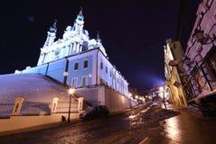Ukraine, Kiev. Evening Kiev, Andreevsky Descent. Evening hem, Andreevsky descent. The narrow street rises uphill, to the St. Andrew`s Church stock images