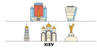 Ukraine, Kiev flat landmarks vector illustration. Ukraine, Kiev line city with famous travel sights, skyline, design. Ukraine, Kiev flat landmarks vector royalty free illustration