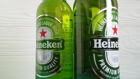 Ukraine Kiev January 26, 2018  beer Heineken. Ukraine Kiev January 26 2018  beer Heineken stock footage