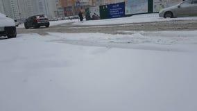 Ukraine Kiev January 24, 2018 traffic winter bad road ride cars. Ukraine Kiev January 24, 2018 winter bad road ride cars vehicle traffic stock video