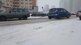 Ukraine Kiev January 24, 2018 cityscape outdoors traffic winter bad road ride cars. Ukraine Kiev January 24, 2018 winter bad road ride cars vehicle traffic stock video footage