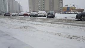 Ukraine Kiev January 24, 2018 outdoors traffic winter bad road ride cars. Ukraine Kiev January 24, 2018 winter bad road ride cars vehicle traffic outdoors stock footage