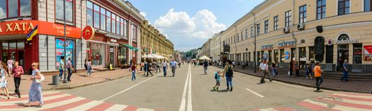 UKRAINE, KIEV - JUNE 12, 2018: Walk tourists on the pedestrian street on Podol in the historical center of Kiev Royalty Free Stock Photo