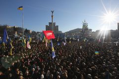 Ukraine, Kiev, A large crowd of protesters against the authorities in the square of Maidan. Protesting people against corruption in Ukraine royalty free stock image
