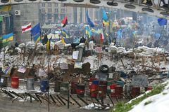 Ukraine, Kiev, the Maidan. Tent city, barricades in the square. stock photo