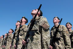 Ukraine, Kiev. 8 May 2015: Recruits of the Armed Forces of Ukraine take part an oath ceremony Stock Image