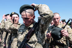 Ukraine, Kiev. 8 May 2015: Recruits of the Armed Forces of Ukraine take part an oath ceremony Stock Photography