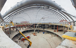 UKRAINE, KIEV. Metal structure, the atrium. Progress in the construction of shopping mall Republic Stock Image