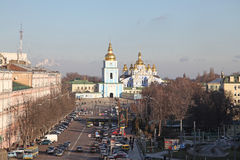 Ukraine. Kiev. Mikhailovskyi monastery and Sophia square . Veiw to Mikhailovskyi monastery and Sophia square in Kiev Royalty Free Stock Photos